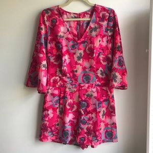 Bright Pink Floral Romper with Bell Sleeves